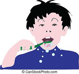 ベクトル, 彼の, 清掃, 子供, 歯