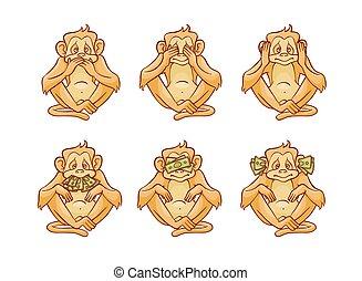ベクトル, 彼の, 話す, dont, カバー, 3, イラスト, 見なさい、, セット, 聞きなさい, 目, mouth., 猿, 耳