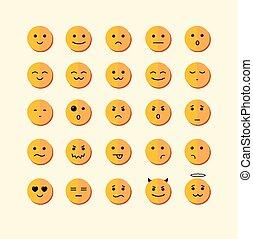 ベクトル, 微笑, アイコン, set., デザイン, 平ら