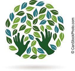 ベクトル, 心配, logo., 緑, 写実的な 設計, イラスト, 手