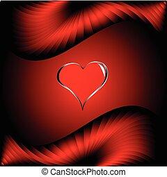 ベクトル, 心, バレンタイン, 銀, 背景