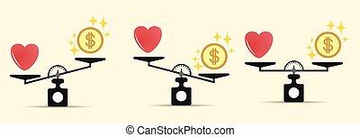 ベクトル, 心, 別, 概念, 愛, スケール, options., お金, スケール。, 隔離された, ライト, 選択, バックグラウンド。, セット, 傾き, バランス, scale., コイン。