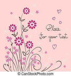 ベクトル, 心, 花, 背景, バレンタイン