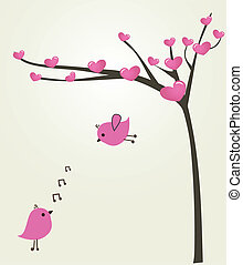 ベクトル, 恋人, love., 鳥, イラスト