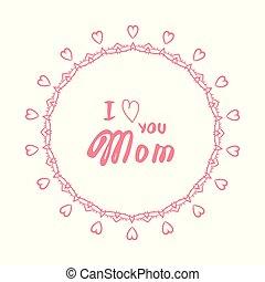 ベクトル, 愛, あなた, card., illustration., お母さん