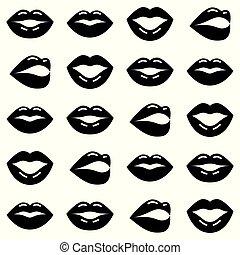ベクトル, 愛, バレンタイン, seamless, パターン, 唇, 背景, 黒, デザイン, 白, 日