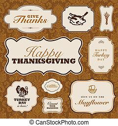 ベクトル, 感謝祭, フレーム, セット, そして, 秋, パターン