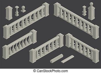 ベクトル, 手すり, セット, 建築の要素