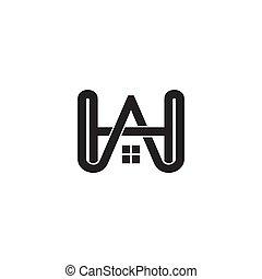 ベクトル, 手紙, 家, hw, ロゴ, シンボル, つながれる