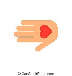 ベクトル, 手, アイコン, ロゴ, 心