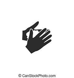 ベクトル, 手, イラスト, アイコン, どうか, 洗いなさい, 印。, あなたの