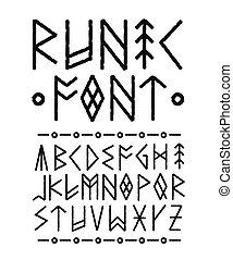 ベクトル, 手, インク, font., runic, 引かれる, ブラシ