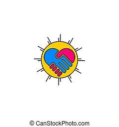 ベクトル, 手, シンボル, 振動, 統一, 幾何学的なデザイン