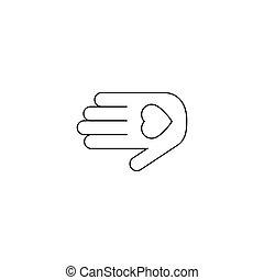 ベクトル, 手, ロゴ, 心, アイコン