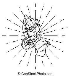 ベクトル, 手, 人間, イラスト, 祈ること