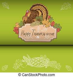 ベクトル, 手, 引かれる, 感謝祭, バックグラウンド。
