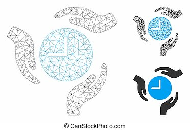 ベクトル, 手, 心配, 三角形, アイコン, モザイク, 時間, ネットワーク, モデル, 噛み合いなさい