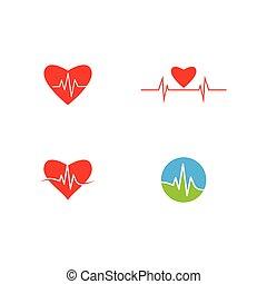 ベクトル, 打つこと, 線, 心, ロゴ