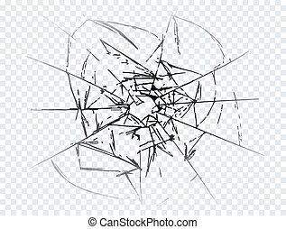 ベクトル, 押しつぶされた, ガラス, 割れた, 現実的