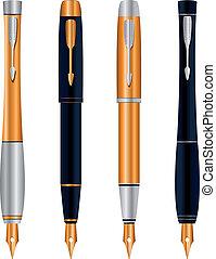 ベクトル, 抽象的, セット, ペン, イラスト