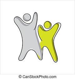 ベクトル, 抽象的, テンプレート, design., 概念, ロゴ, シンボル, 2人の人々, 一緒に, 手, 2, 独創力のある, 統一