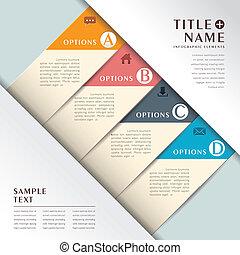 ベクトル, 抽象的, ペーパー, 3d, infographics