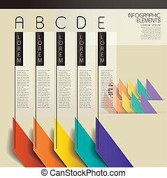 ベクトル, 抽象的, 棒グラフ, infographic, 要素