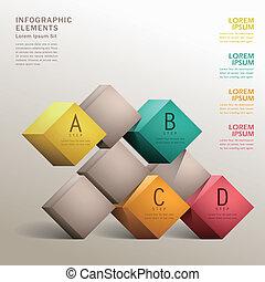ベクトル, 抽象的, 立方体, 3d, infographics