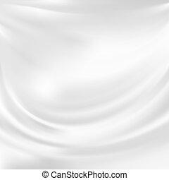 ベクトル, 抽象的, 絹, 白, 手ざわり