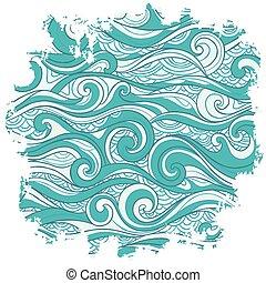 ベクトル, 抽象的, 背景, 波
