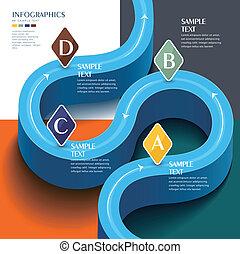 ベクトル, 抽象的, 3d, 未来派, 青, 道, infographic, 要素