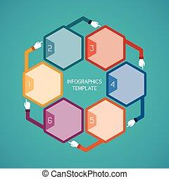 ベクトル, 抽象的, infographic, ステップ, 6