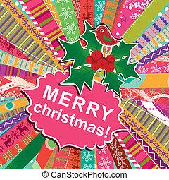 ベクトル, 挨拶, クリスマス, テンプレート, カード