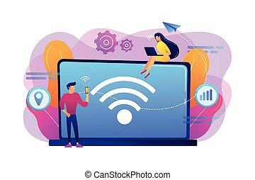 ベクトル, 接続, 概念, illustration., wi - fi