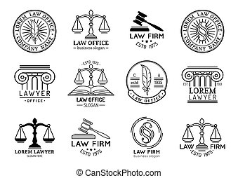 ベクトル, 提唱者, オフィス, スケール, 正義, ラベル, シンボル, ∥など∥, セット, 小槌, 弁護士, ∥など∥., 法律, illustrations.