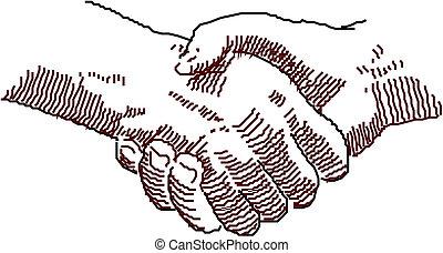 ベクトル, 握手, シンボル