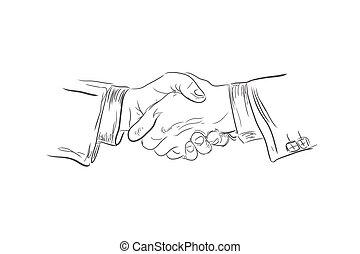 ベクトル, 握手, ビジネス, スケッチ