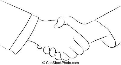 ベクトル, 握手, 隔離された, イラスト, 輪郭