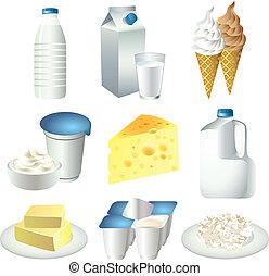 ベクトル, 搾乳場, セット, プロダクト, ミルク