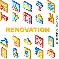 ベクトル, 改修, 家, セット, アイコン, 修理, コレクション