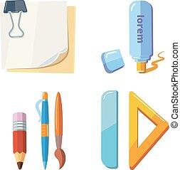 ベクトル, 文房具, セット, 漫画, イラスト