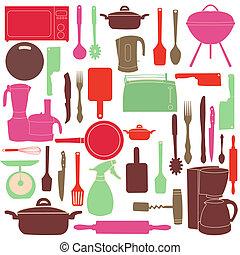 ベクトル, 料理, 道具, イラスト, 台所