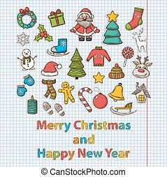 ベクトル, 新年おめでとう, そして, メリークリスマス, セット