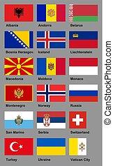 ベクトル, 旗, コレクション, ヨーロッパ