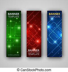 ベクトル, 旗, セット, 現代