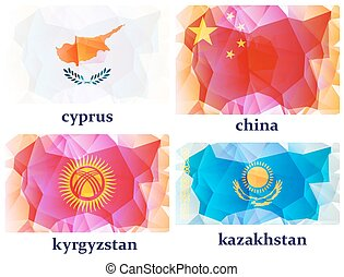 ベクトル, 旗, 世界, イラスト