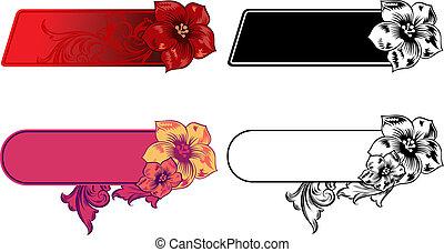 ベクトル, 旗, 横, セット, 花