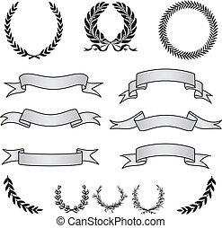 ベクトル, 旗, 花輪, セット