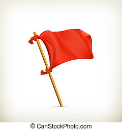 ベクトル, 旗, 赤, アイコン