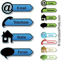 ベクトル, 旗, -, 電話, 電子メール, 家, フォーラム